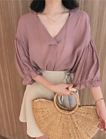 Women's Going out Cute Blouse,Solid V Neck Long Sleeves Polyester