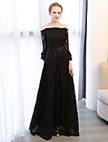 A-Line Off-the-shoulder Ankle Length Lace Formal Evening Dress with by Embroidered bridal