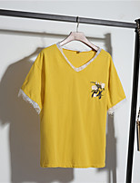 Women's Daily Casual T-shirt,Embroidery V Neck Short Sleeves Cotton