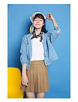 Feminino Jaqueta jeans Para Noite Simples Outono,Sólido Curto Algodão Colarinho Chinês Manga Longa