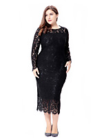 Women's Party Plus Size Going out Casual/Daily Vintage Simple Cute Bodycon Sheath Lace Dress,Solid Jacquard Round Neck Midi Long Sleeves