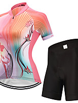 FUALRNY® Cycling Jersey with Shorts Women's Short Sleeves Bike Clothing Suits Reflective Strip Anti-Slip Quick Dry Breathability High