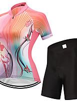 FUALRNY® Camisa com Shorts para Ciclismo Mulheres Manga Curta Moto Conjuntos de Roupas Lista Reflectora Anti-Escorregar Secagem Rápida