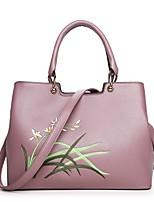 Donna Sacchetti Per tutte le stagioni PU (Poliuretano) Tote Set di borsa da 4 pezzi Ricamo per Casual Blu Nero Rosa