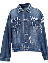 Women's Going out Street chic Fall Denim Jacket,Floral Print Shirt Collar Long Sleeve Regular Others