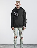 Men's Daily Casual Hoodie Solid Color Block Letter Hooded Micro-elastic Cotton Long Sleeve Fall