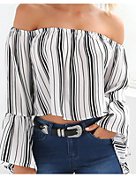 Women's Going out Simple Blouse,Print Off Shoulder Long Sleeves Polyester