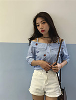 Women's Holiday Going out Shirt,Striped Boat Neck 3/4 Length Sleeves Cotton