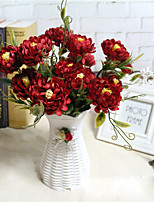 1 Rama Poliéster Peonías Flor de Mesa Flores Artificiales