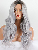 Women Synthetic Wig Lace Front Medium Length Long Natural Wave Water Wave Curly Loose Wave Deep Wave Wavy Grey Lolita Wig Drag Wig Party