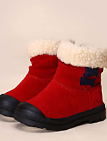 Girls' Shoes Cowhide Winter Comfort Boots Booties/Ankle Boots For Casual Red Yellow Black