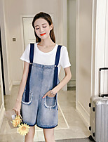 Women's Casual/Daily Simple Summer T-shirt Pant Suits,Solid Round Neck Short Sleeve Denim Micro-elastic