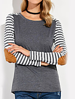 Women's Daily Holiday Street chic Fall T-shirt,Striped Round Neck Long Sleeves Polyester