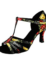 Women's Latin Real Leather Sandal Performance Buckle Pattern/Print Cuban Heel Black 2