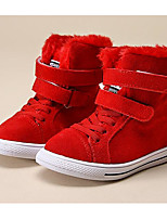 Girls' Shoes Cowhide Winter Fluff Lining First Walkers Snow Boots Boots For Casual Red Black