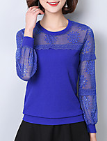 Women's Daily Sexy Spring Fall Blouse,Solid Round Neck Long Sleeves Polyester Medium