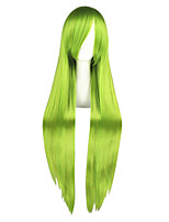 Women Synthetic Wig Capless Long Kinky Straight Green Cosplay Wig Costume Wig