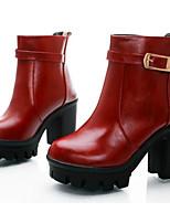 Femme Chaussures Cuir Nappa Polyuréthane Automne Hiver Escarpin Basique boîtes de Combat Bottes Talon Plat Bottine/Demi Botte Pour