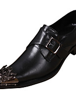 Men's Shoes Nappa Leather Fall Winter Formal Shoes Oxfords Metallic Toe For Casual Party & Evening Black