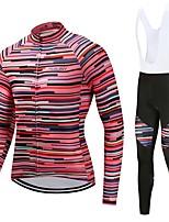 Maillot et Cuissard Long à Bretelles de Cyclisme Unisexe Manches Longues Vélo Ensemble de Vêtements Résistant aux UV Rayure Automne