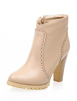 preiswerte -Damen Schuhe Kunstleder PU Winter Komfort Neuheit Modische Stiefel Stiefel Runde Zehe Mittelhohe Stiefel Reißverschluss Für Kleid Party &