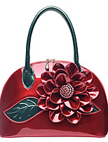 Women Bags All Seasons Patent Leather Tote Flower(s) for Wedding Casual Red Blushing Pink Dark Green Fuchsia Sky Blue