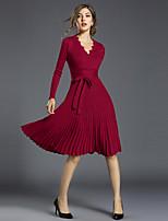Linea A Vestito Da donna-Feste Per uscire Casual Sensuale Vintage Sofisticato Tinta unita A V Sopra il ginocchio Manica lunga Poliestere