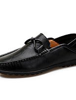Men's Shoes Cowhide Spring Fall Moccasin Loafers & Slip-Ons For Casual Brown Black