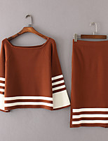 Women's Going out Casual/Daily Simple Spring Fall Hoodie Skirt Suits,Color Block Boat Neck Long Sleeve Micro-elastic