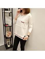 T-shirt Da donna Casual Ufficio Semplice Romantico Sofisticato Autunno Inverno,Tinta unita Rotonda Cotone Poliestere Manica lunga Medio