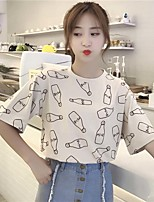 Women's Daily Cute Casual T-shirt,Print Round Neck Short Sleeves Cotton
