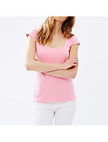 Women's Daily Going out Cute Sexy Summer T-shirt,Solid V Neck Short Sleeves Cotton Spandex Medium