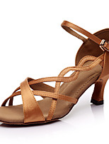 Women's Latin Silk Indoor Customized Heel Brown Customizable