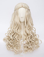 Women Synthetic Wig Capless Long Curly Wavy Blonde Cosplay Wig Costume Wig