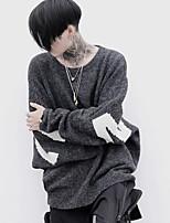 Men's Casual/Daily Simple Regular Pullover,Color Block Round Neck Long Sleeves Rabbit Fur Fall Medium Micro-elastic
