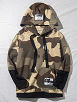 Men's Going out Hoodie Camouflage Hooded Micro-elastic Others Long Sleeve Summer