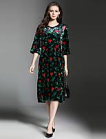 Для женщин Для вечеринок На выход На каждый день Секси Винтаж Изысканный Свободный силуэт Платье Цветочный принт,Круглый вырез До колена