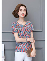 Women's Daily Sophisticated T-shirt,Print Round Neck Short Sleeves Polyester