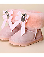 Girls' Shoes Cowhide Fall Winter Fluff Lining Snow Boots Boots For Casual Blushing Pink Light Purple Black