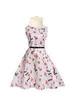 Girl's Daily Going out Holiday Solid Floral Jacquard Dress,Polyester Spring Summer Half Sleeves Floral White