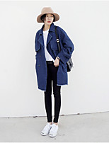 Women's Going out Casual/Daily Cute Street chic Fall Denim Jacket,Solid Stand Long Sleeve Long Polyester