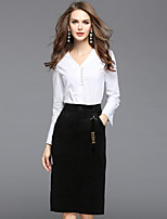 Women's Daily Going out Street chic Fall Shirt Skirt Suits,Solid V Neck Long Sleeve Cotton Inelastic