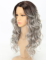 Women Synthetic Wig Capless Long Loose Wave Black/Grey Ombre Hair Dark Roots Middle Part Cosplay Wig Costume Wig