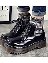 Femme Chaussures Cuir Nappa Polyuréthane Printemps Automne boîtes de Combat Bottes Gros Talon Bottine/Demi Botte Pour Décontracté Noir