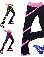 Over The Boot Figure Skating Tights Women's Girls' Ice Skating Dress Peach Sky Blue Red Pink Royal Blue Stretchy Stripe Performance
