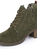 Women's Shoes PU Fall Winter Combat Boots Boots Block Heel Round Toe Mid-Calf Boots Lace-up For Casual Green Black