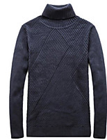Men's Casual/Daily Regular Pullover,Solid Turtleneck Long Sleeves Cotton Fall Medium Micro-elastic