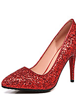 Women's Shoes Leatherette Spring Fall Comfort Heels Stiletto Heel Pointed Toe Sequin For Wedding Dress Red Silver Gold