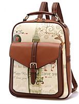 Women Bags PU School Bag Zipper for Casual All Seasons Brown Black Beige Khaki