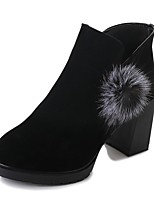 Women's Shoes Suede Fall Fashion Boots Boots Chunky Heel Round Toe Pom-pom For Casual Khaki Black